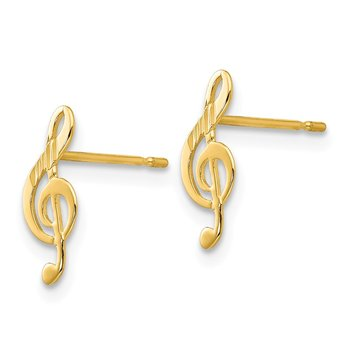 14k Madi K D/C Music Note Post Earrings