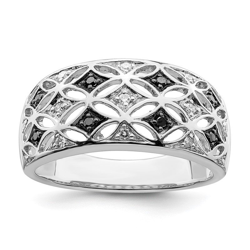 Arizona Diamond Center Collection Sterling Silver Rhodium Plated Black & White Diamond Ring