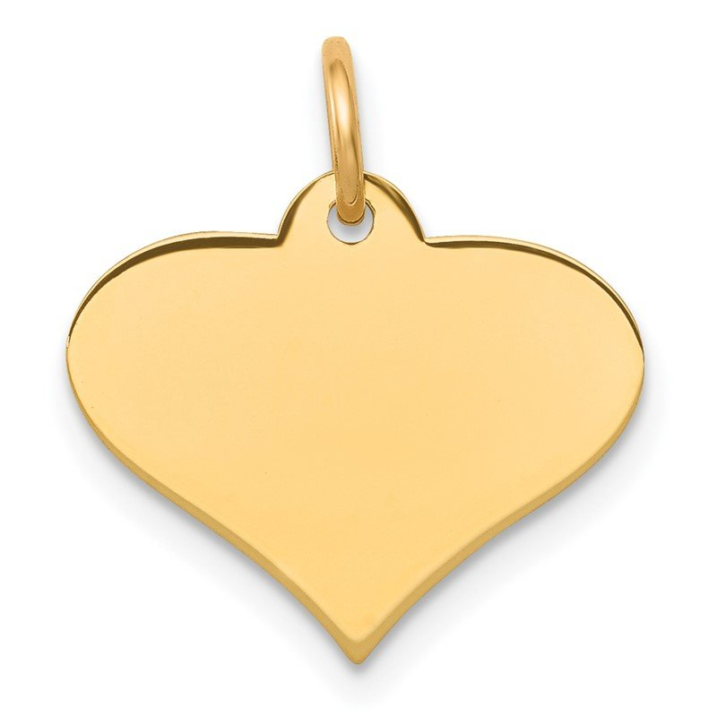 Quality Gold 14k Plain .013 Gauge Engraveable Heart Disc Charm