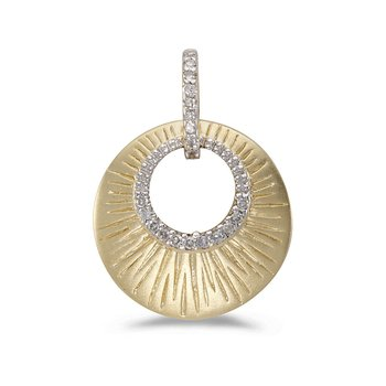 14K Yellow Gold and Diamond Satin Shell Pendant