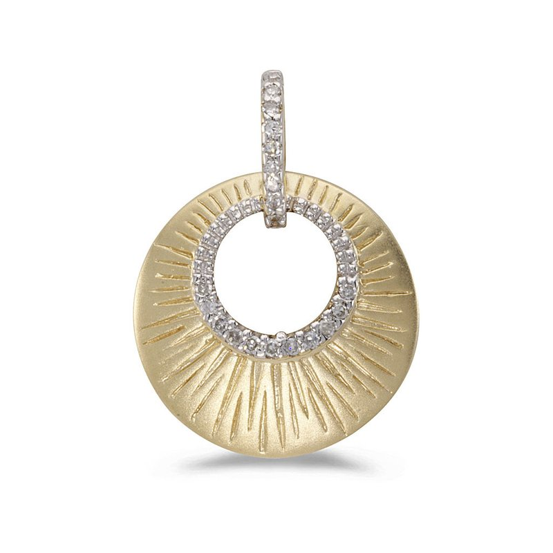 Color Merchants 14K Yellow Gold and Diamond Satin Shell Pendant