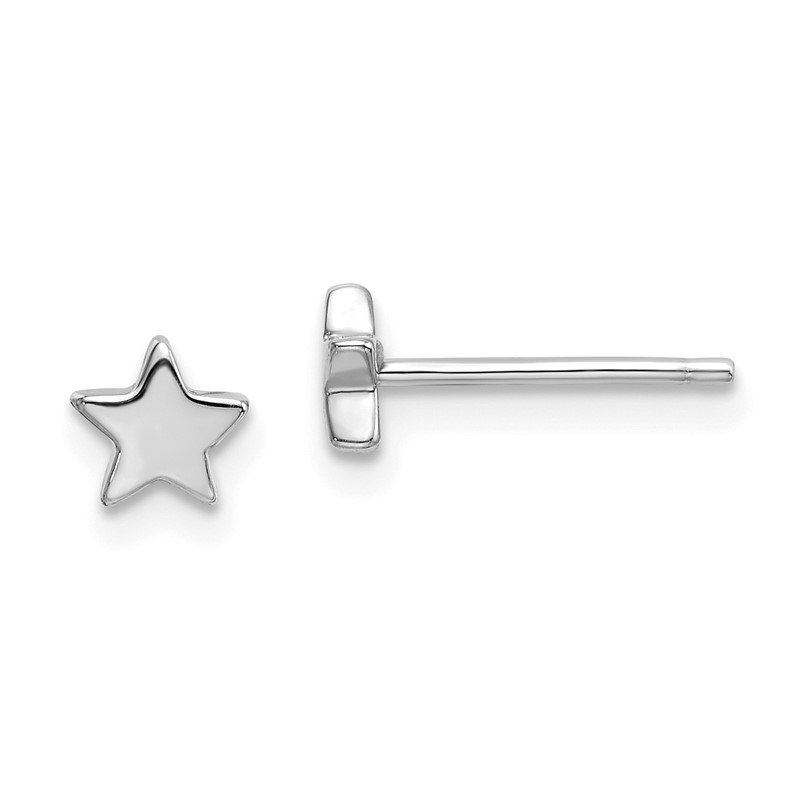 Quality Gold 14k White Gold Polished Star Post Earrings