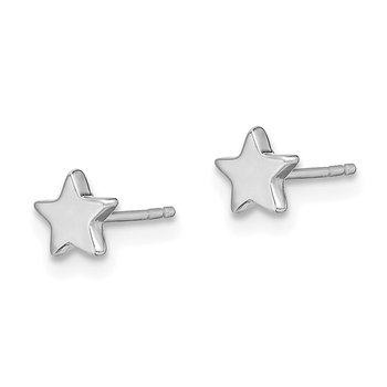 14k White Gold Polished Star Post Earrings