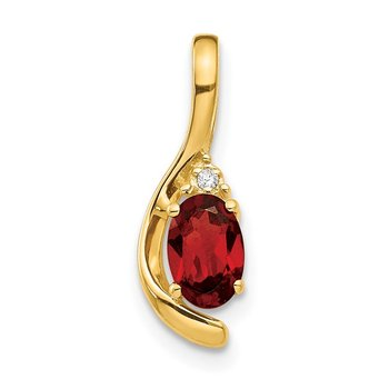 14k Garnet and Diamond Pendant