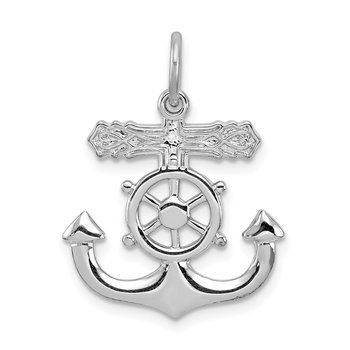 Sterling Silver Rhodium-plated Mariner Cross Pendant