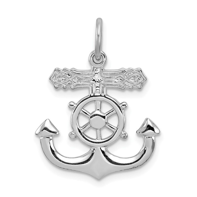 Quality Gold Sterling Silver Rhodium-plated Mariner Cross Pendant