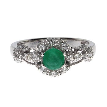 14k White Gold Round Emerald Diamond Ring