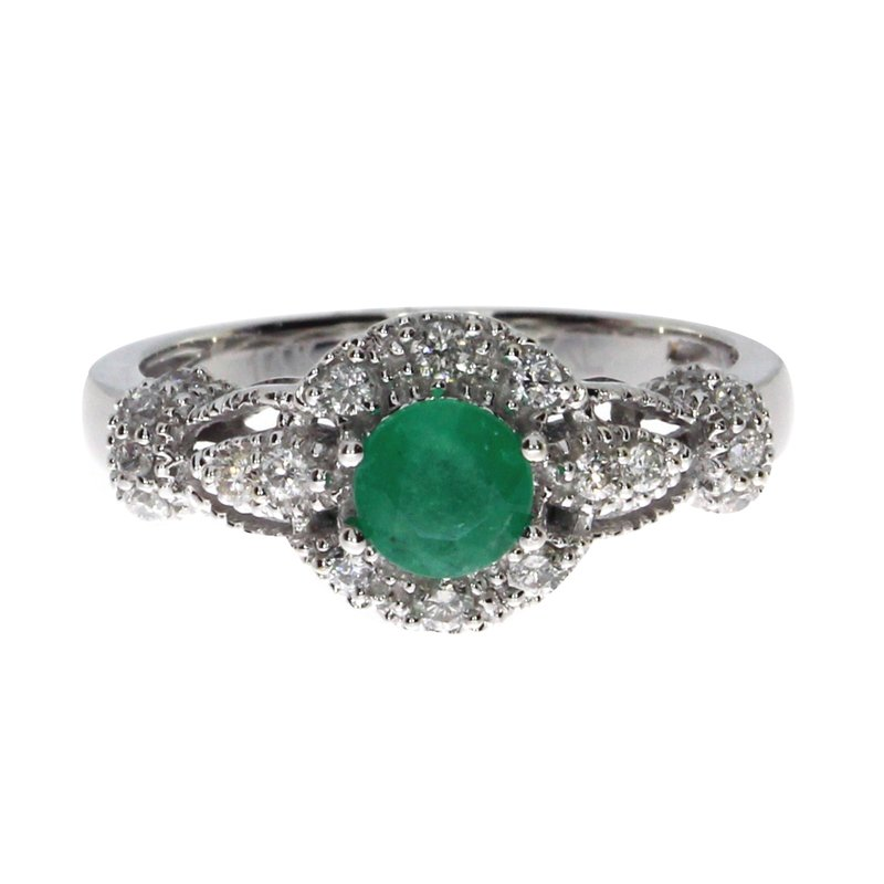 Color Merchants 14k White Gold Round Emerald Diamond Ring