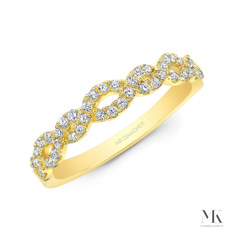 Yellow Gold Braided Pave Band