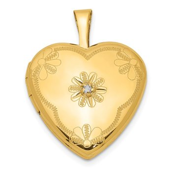 1/20 Gold Filled with Diamond Flower Design 15mm Heart Locket