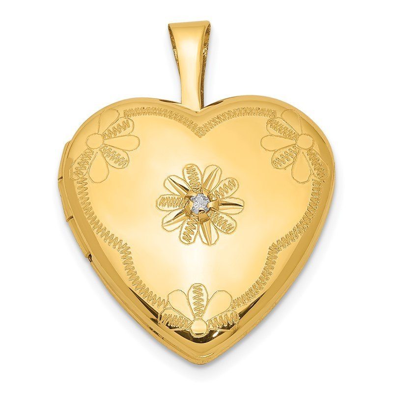 Quality Gold 1/20 Gold Filled with Diamond 2-Frame 15mm Heart Locket