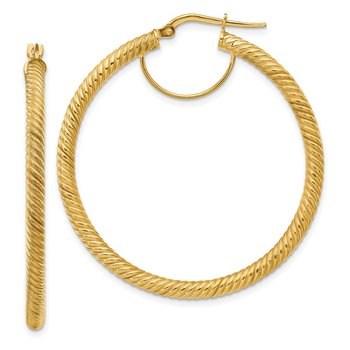 14k 3x35mm Twisted Round Hoop Earrings