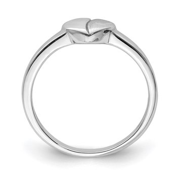 Sterling Silver Rhodium-plated Polished & Satin Heart Ring
