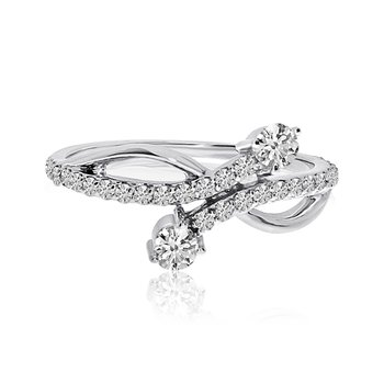 14K White Gold Offset Two-Stone Diamond Ring