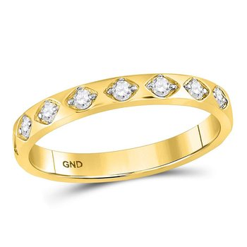 10kt Yellow Gold Womens Round Diamond Stackable Band Ring 1/5 Cttw