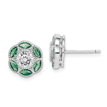 Sterling Silver Rhodium-plated Lab Cr. Green Spinel/CZ Earrings