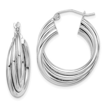 Sterling Silver Rhodium Plated Triple Hoop Earrings