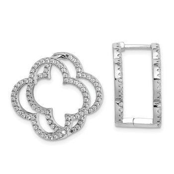Sterling Silver Rhodium-plated CZ Quatrefoil Hinged In/Out Earrings