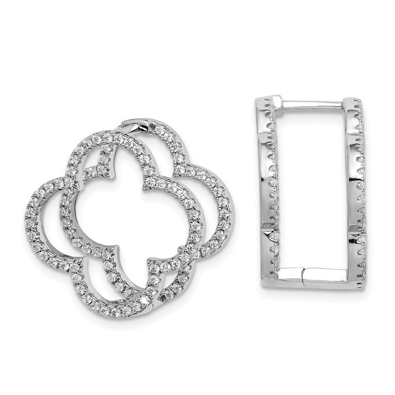 Quality Gold Sterling Silver Rhodium-plated CZ Quatrefoil Hinged In/Out Earrings