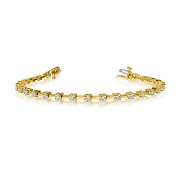 14K Yellow Gold Round Diamond Bar Style Tennis Bracelet