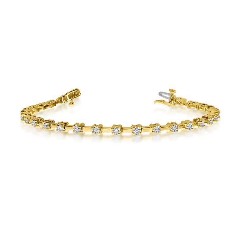 Color Merchants 14K Yellow Gold Round Diamond Bar Style Tennis Bracelet