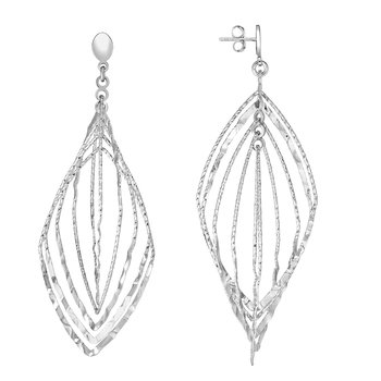Silver Marquise Drop Hammered Earring