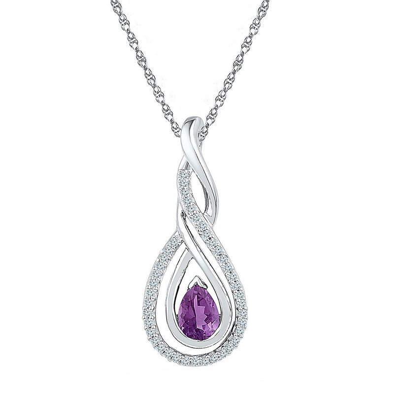 Kingdom Treasures Sterling Silver Womens Pear Lab-Created Amethyst Diamond Teardrop Pendant 1/2 Cttw