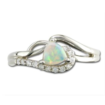 White Gold Opal & Diamond Ring