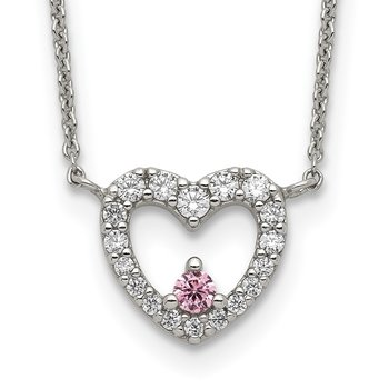 Sterling Silver CZ Heart w/Pink CZ Necklace
