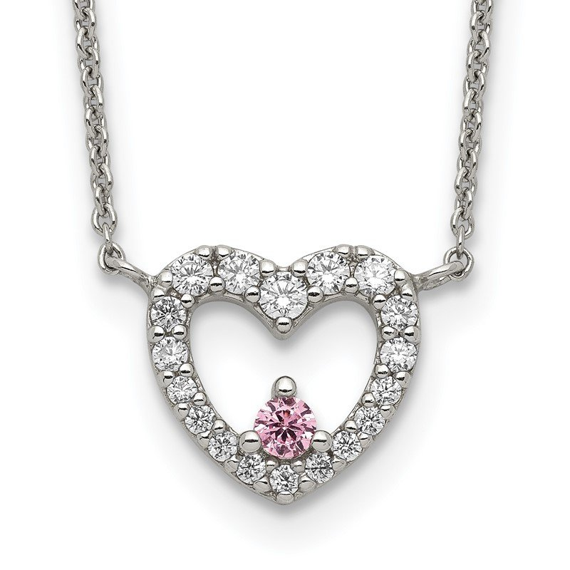 Quality Gold Sterling Silver CZ Heart w/Pink CZ Necklace