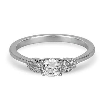 14K WG Diamond Ring With Miracle Set Center Promise Ring