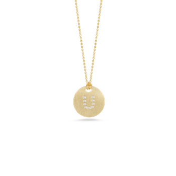 18KT GOLD DISC PENDANT WITH DIAMOND INITIAL U