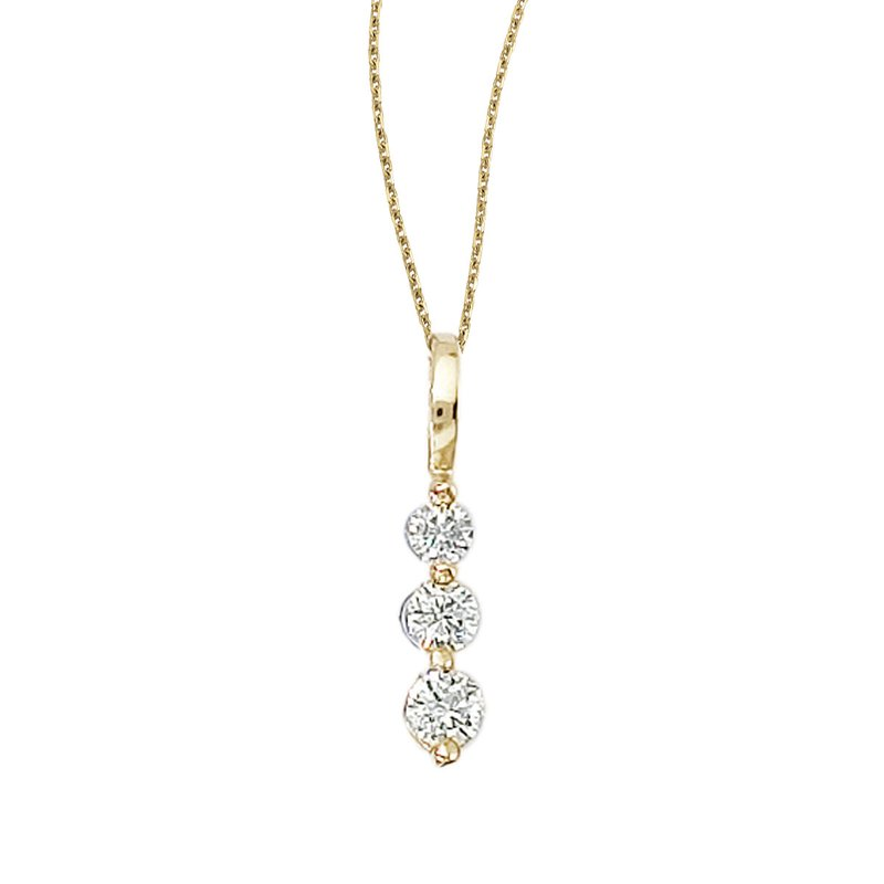 Color Merchants 14k Yellow Gold 0.25 Ct Three Stone Diamond Pendant