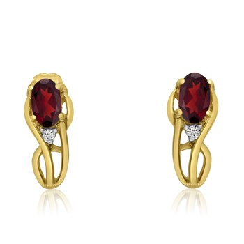 14K Yellow Gold Curved Garnet and Diamond Earrings