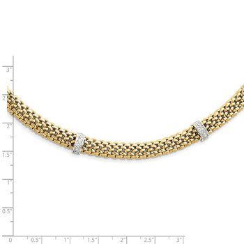 14k Two-Tone 17in .05ct Completed Polished Diamond & Mesh Necklace