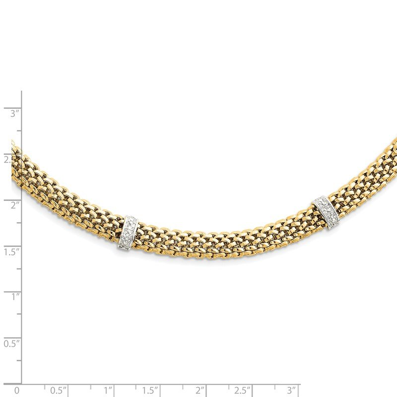 Quality Gold 14k Two-Tone 17in .05ct Completed Polished Diamond & Mesh Necklace