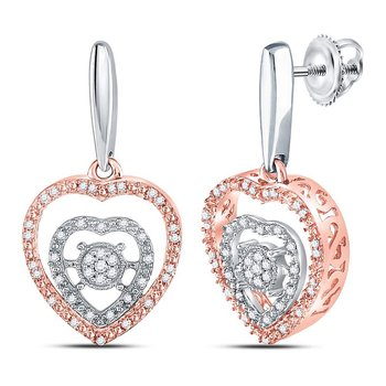 Sterling Silver Womens Round Diamond Rose-tone Heart Dangle Earrings 1/4 Cttw