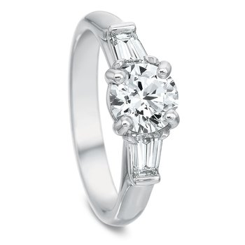 18K white gold 3 stone semi mount for 1.50 round center