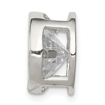 Sterling Silver Round CZ Chain Slide