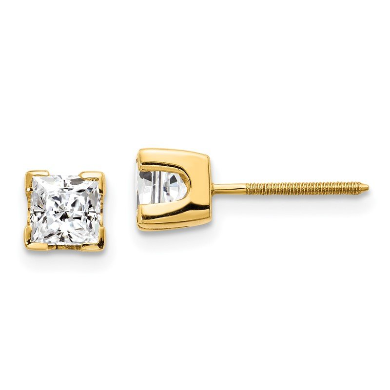Quality Gold 14k 1ct AA Quality Complete Princess-cut Diamond Stud Earrings