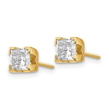 14k 1ct AA Quality Complete Princess-cut Diamond Stud Earrings
