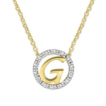"Gold and Diamond Mini Halo ""G"" Initial Necklace"