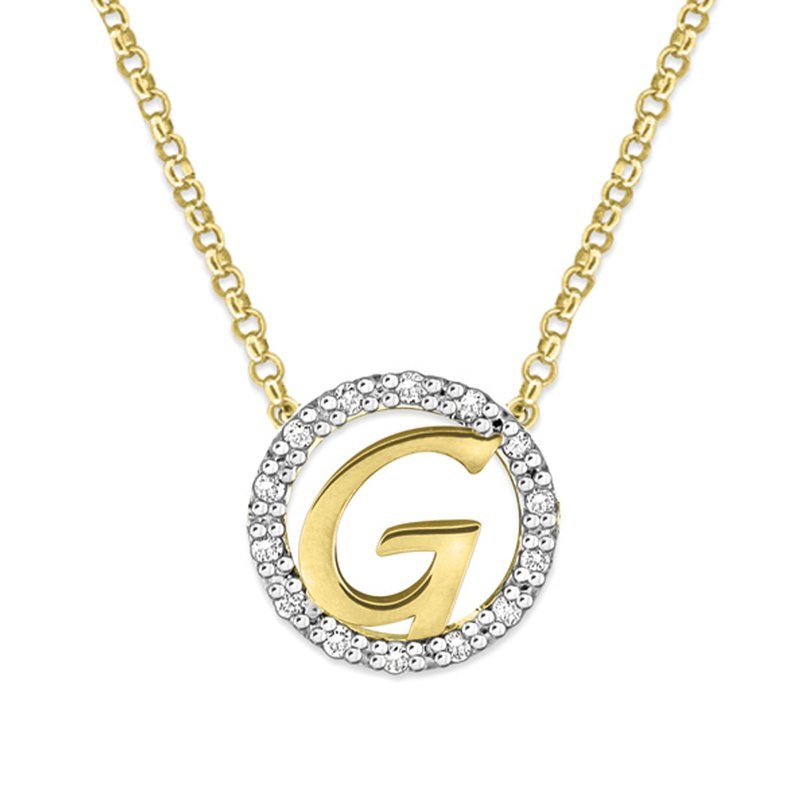 "KC Designs Gold and Diamond Mini Halo ""G"" Initial Necklace"