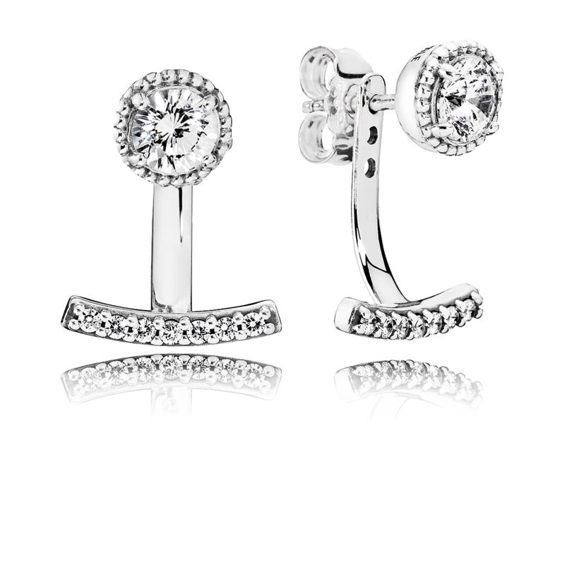 PANDORA Abstract Elegance Drop Earrings, Clear CZ