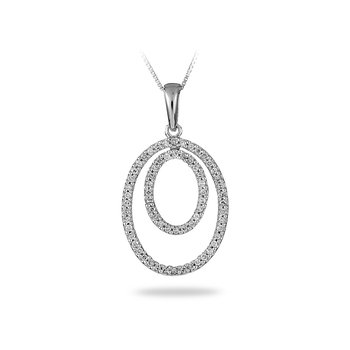 14K WG Diamond Double Oval Pendant