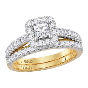 14kt Yellow Gold Womens Diamond Princess EGL Bridal Wedding Engagement Ring Band Set 1.00 Cttw