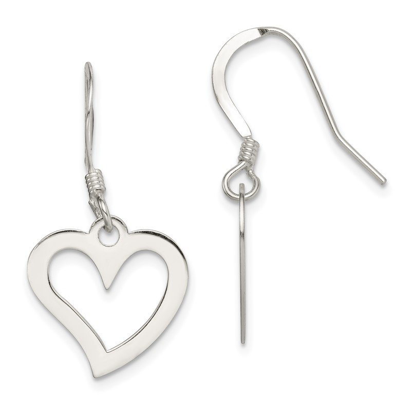 Quality Gold Sterling Silver Polished Heart Dangle Earrings