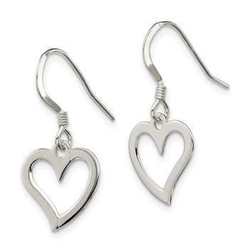 Sterling Silver Polished Heart Dangle Earrings