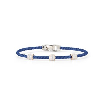 Blueberry Cable Triple Barrel Station Stackable Bracelet with 18kt Rose Gold & Diamonds
