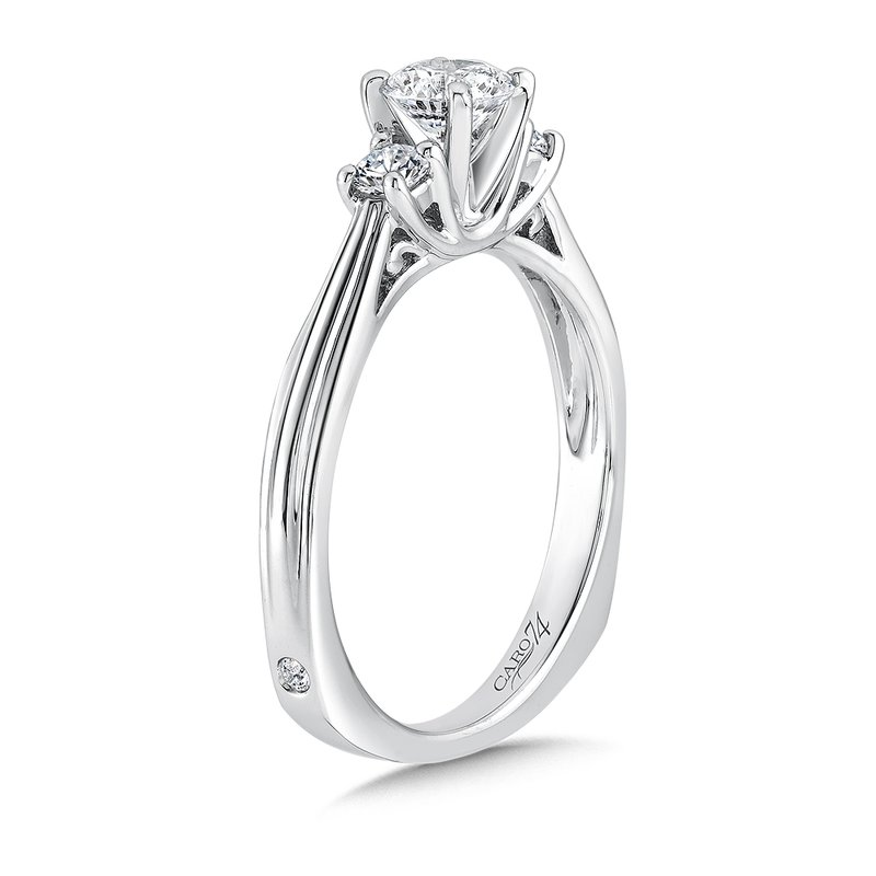 Caro74 Classic Elegance Three-Stone Engagement Ring in 14K White Gold with Platinum Head (1/2ct. tw.)
